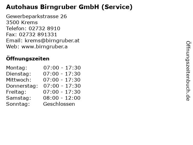 Autohaus Birngruber GmbH (Service) in Krems: Adresse und Öffnungszeiten