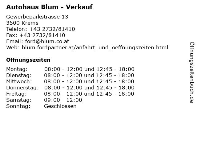 Autohaus Blum - Verkauf in Krems: Adresse und Öffnungszeiten