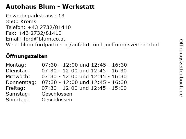 Autohaus Blum - Werkstatt in Krems: Adresse und Öffnungszeiten