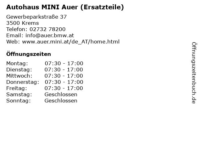 Autohaus MINI Auer (Ersatzteile) in Krems: Adresse und Öffnungszeiten