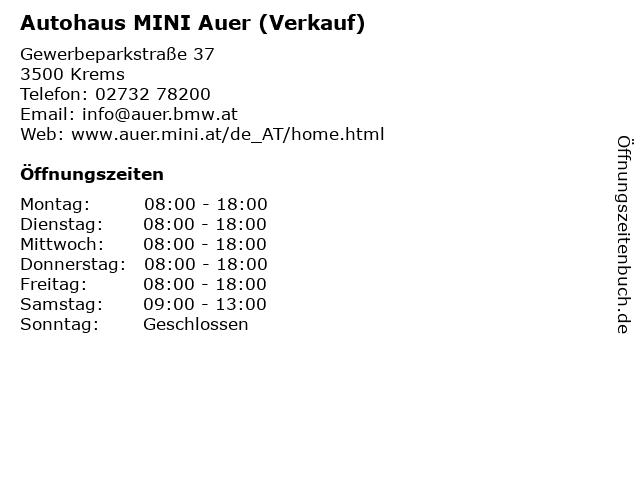 Autohaus MINI Auer (Verkauf) in Krems: Adresse und Öffnungszeiten