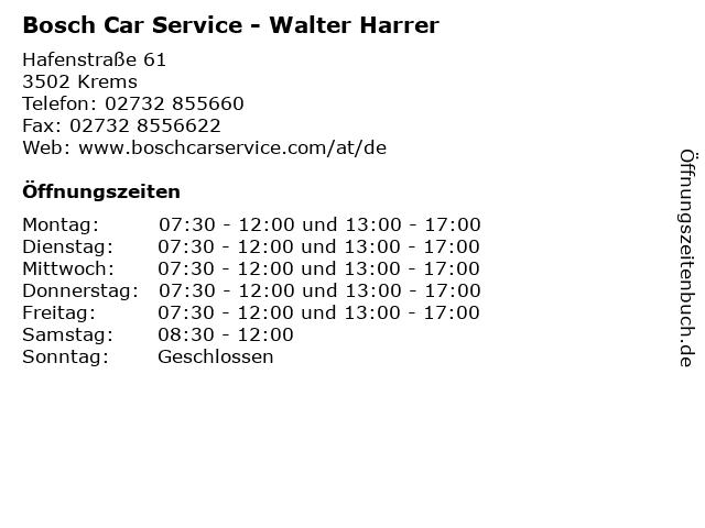 Bosch Car Service - Walter Harrer in Krems: Adresse und Öffnungszeiten