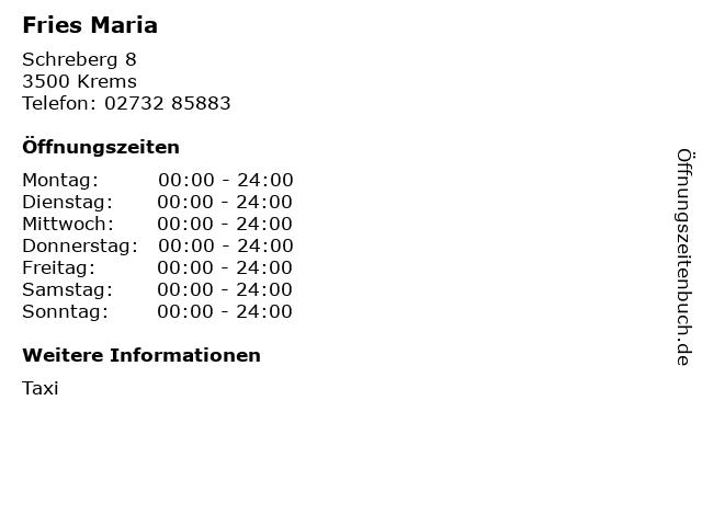 Fries Maria in Krems: Adresse und Öffnungszeiten