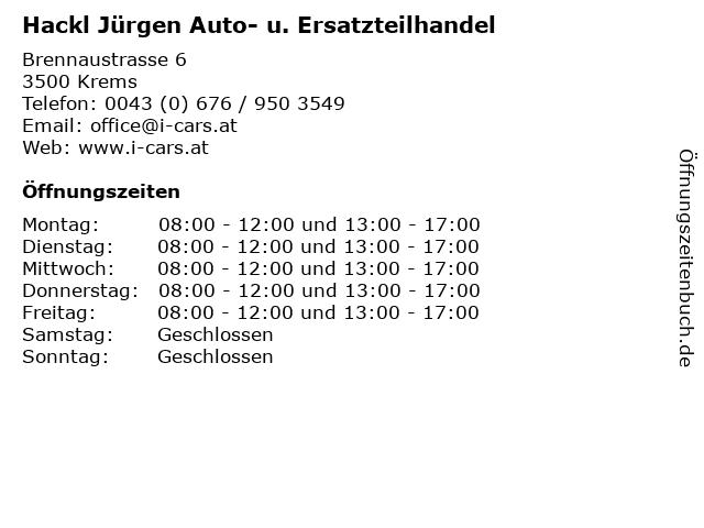 Hackl Jürgen Auto- u. Ersatzteilhandel in Krems: Adresse und Öffnungszeiten