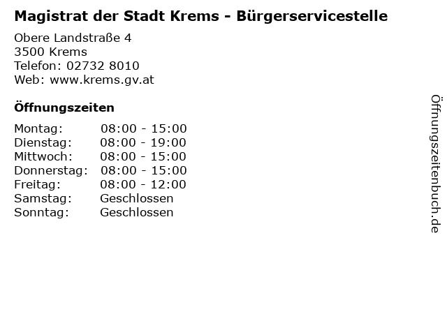 Magistrat der Stadt Krems - Bürgerservicestelle in Krems: Adresse und Öffnungszeiten