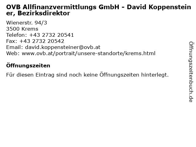 OVB Allfinanzvermittlungs GmbH - David Koppensteiner, Bezirksdirektor in Krems: Adresse und Öffnungszeiten