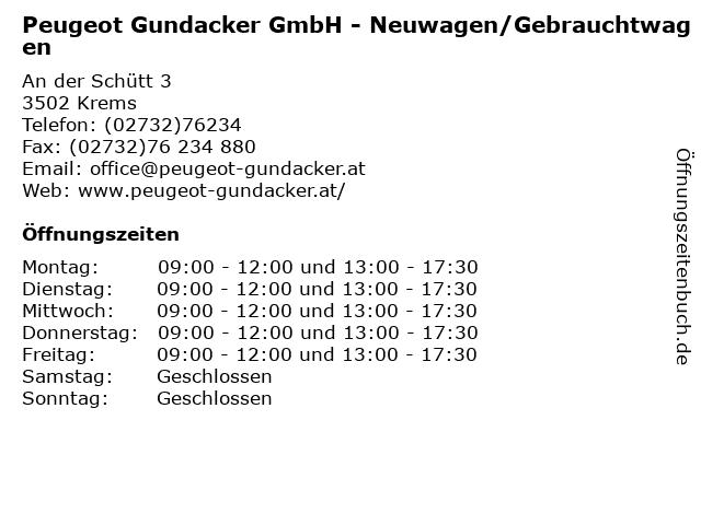 Peugeot Gundacker GmbH - Neuwagen/Gebrauchtwagen in Krems: Adresse und Öffnungszeiten