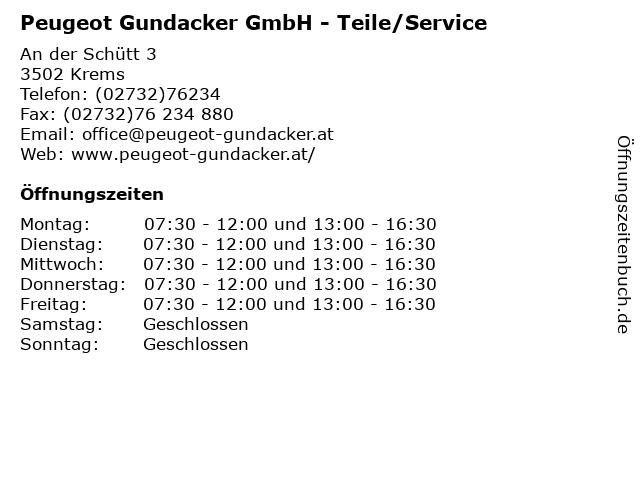 Peugeot Gundacker GmbH - Teile/Service in Krems: Adresse und Öffnungszeiten