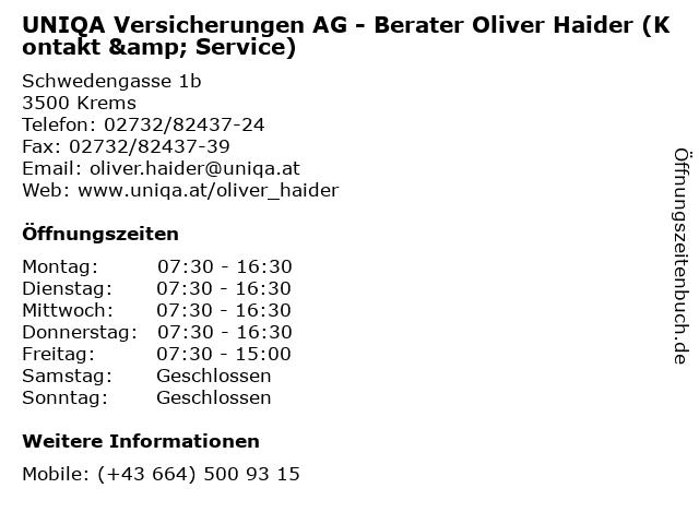 UNIQA Versicherungen AG - Berater Oliver Haider (Kontakt & Service) in Krems: Adresse und Öffnungszeiten