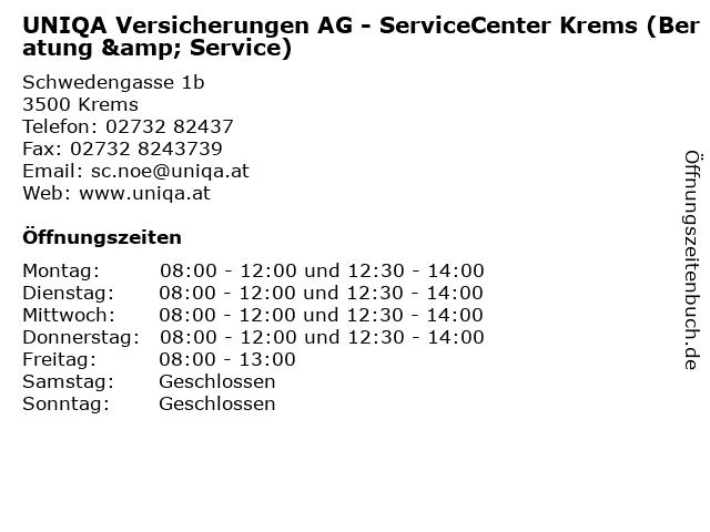 UNIQA Versicherungen AG - ServiceCenter Krems (Beratung & Service) in Krems: Adresse und Öffnungszeiten