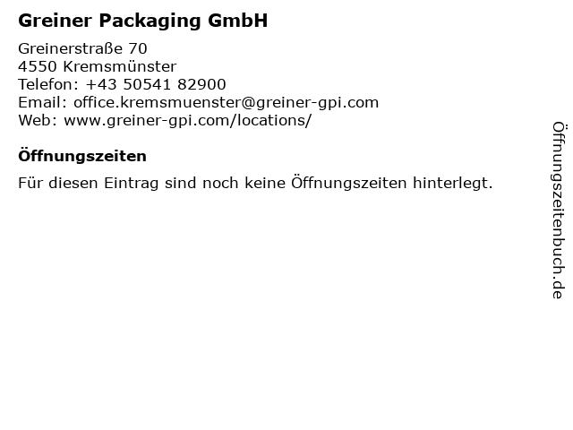 Greiner Packaging GmbH in Kremsmünster: Adresse und Öffnungszeiten