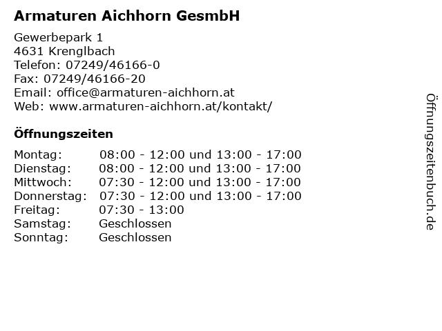 Armaturen Aichhorn GesmbH in Krenglbach: Adresse und Öffnungszeiten