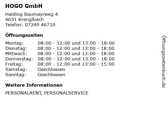 HOGO GmbH in Krenglbach: Adresse und Öffnungszeiten