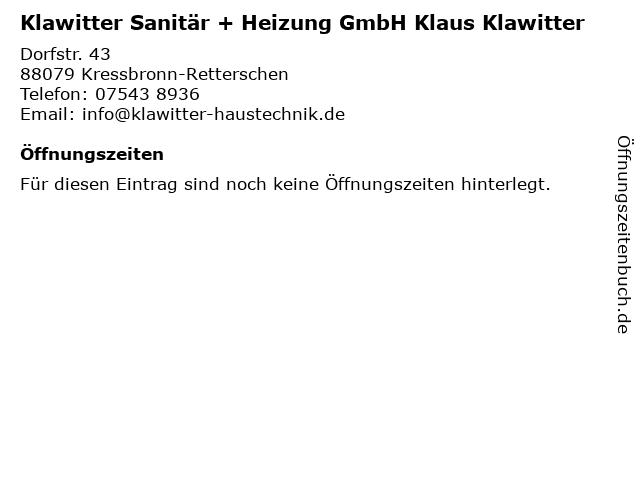 Klawitter Sanitär und Heizung GmbH in Kressbronn: Adresse und Öffnungszeiten