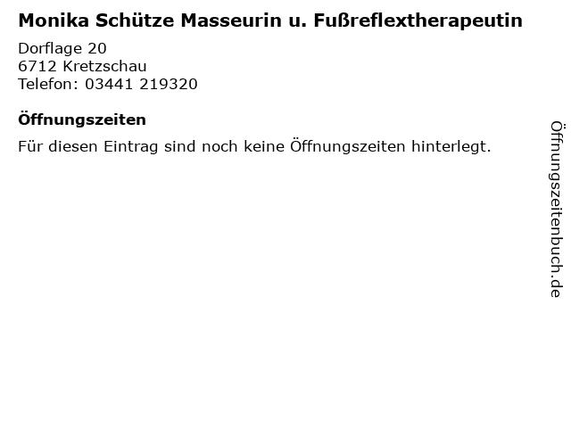 Monika Schütze Masseurin u. Fußreflextherapeutin in Kretzschau: Adresse und Öffnungszeiten