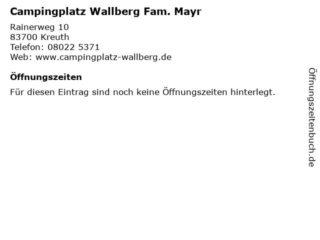 Campingplatz Wallberg Fam. Mayr in Kreuth: Adresse und Öffnungszeiten