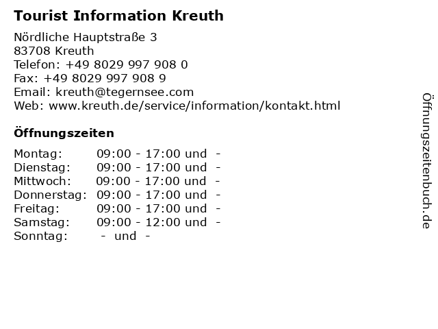 Tourist Information Kreuth in Kreuth: Adresse und Öffnungszeiten