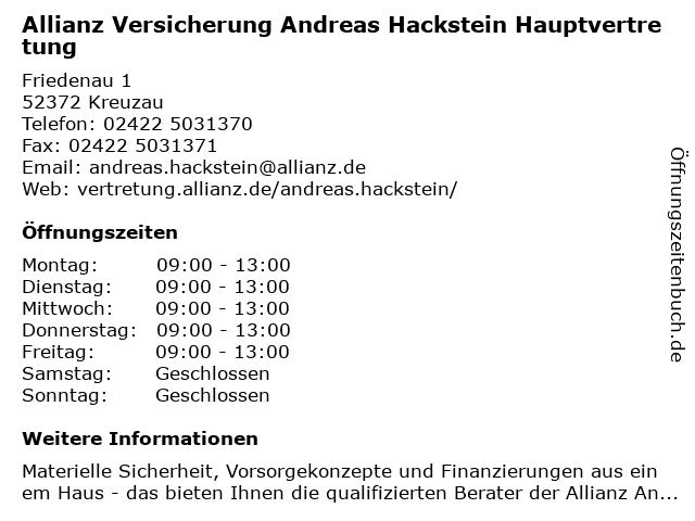 Allianz Vertretung Andreas Hackstein in Kreuzau: Adresse und Öffnungszeiten