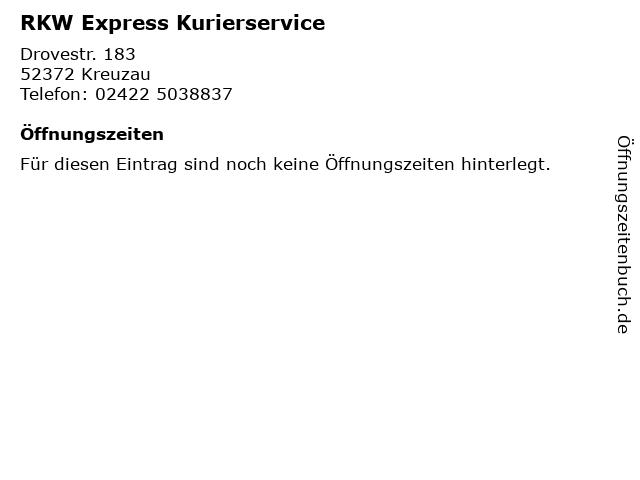 RKW Express Kurierservice in Kreuzau: Adresse und Öffnungszeiten
