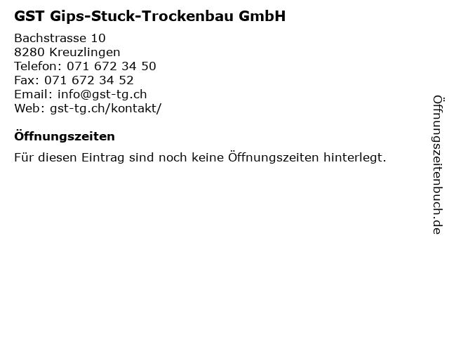 GST Gips-Stuck-Trockenbau GmbH in Kreuzlingen: Adresse und Öffnungszeiten