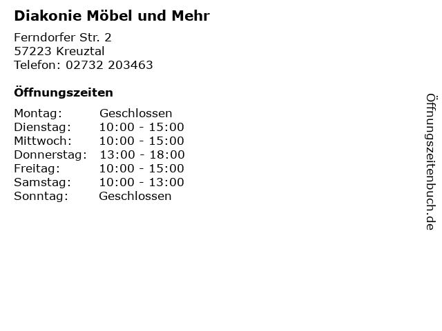 ᐅ öffnungszeiten Diakonie Möbel Und Mehr Ferndorfer Str 2 In