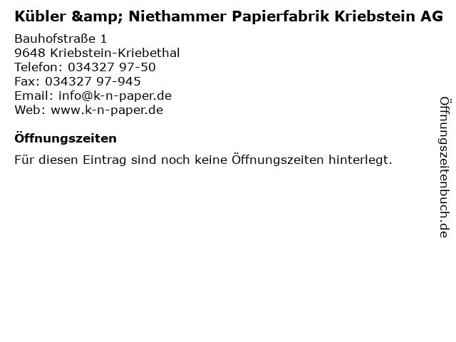"""Kübler Und Niethammer ᐅ Öffnungszeiten """"kübler & niethammer papierfabrik kriebstein ag"""