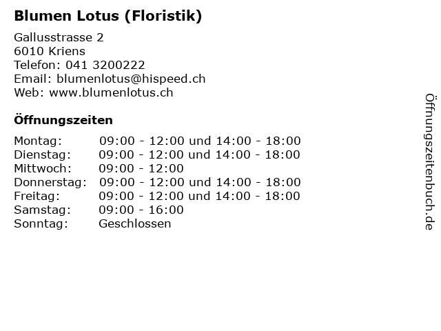Blumen Lotus (Floristik) in Kriens: Adresse und Öffnungszeiten