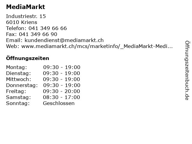 MediaMarkt in Kriens: Adresse und Öffnungszeiten