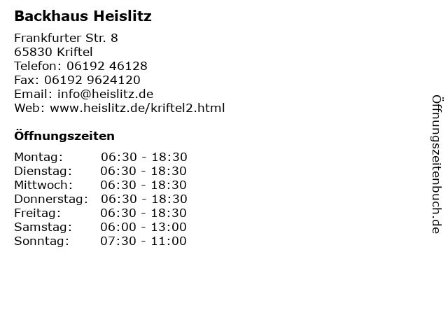 Backhaus Heislitz in Kriftel: Adresse und Öffnungszeiten