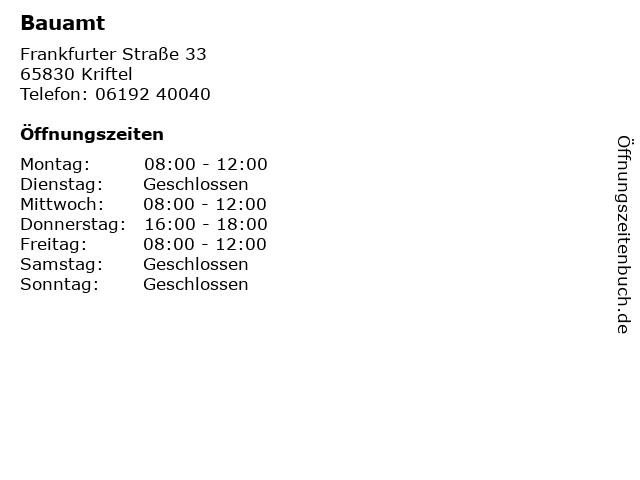 Bauamt in Kriftel: Adresse und Öffnungszeiten