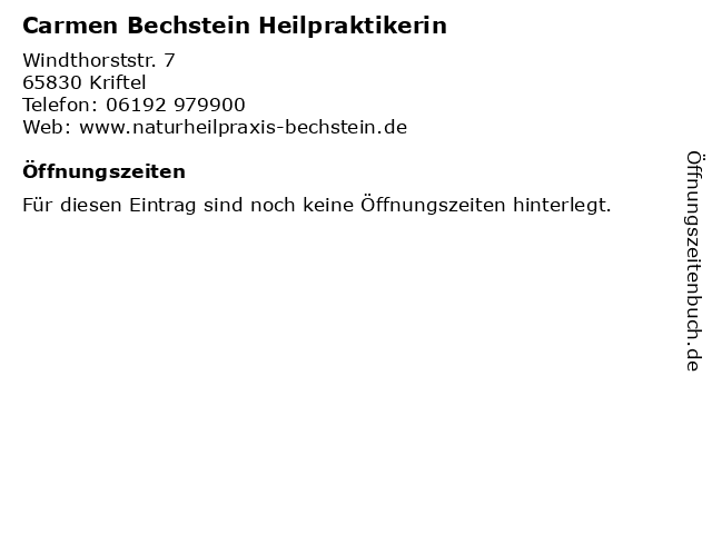 Carmen Bechstein Heilpraktikerin in Kriftel: Adresse und Öffnungszeiten
