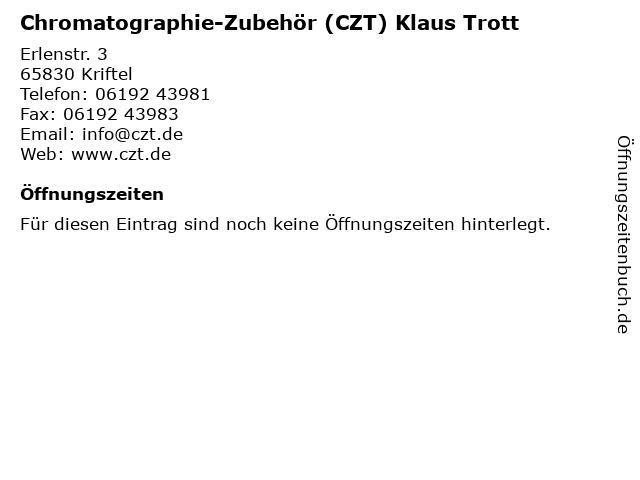 Chromatographie-Zubehör (CZT) Klaus Trott in Kriftel: Adresse und Öffnungszeiten