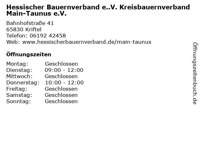 Hessischer Bauernverband e..V. Kreisbauernverband Main-Taunus e.V. in Kriftel: Adresse und Öffnungszeiten