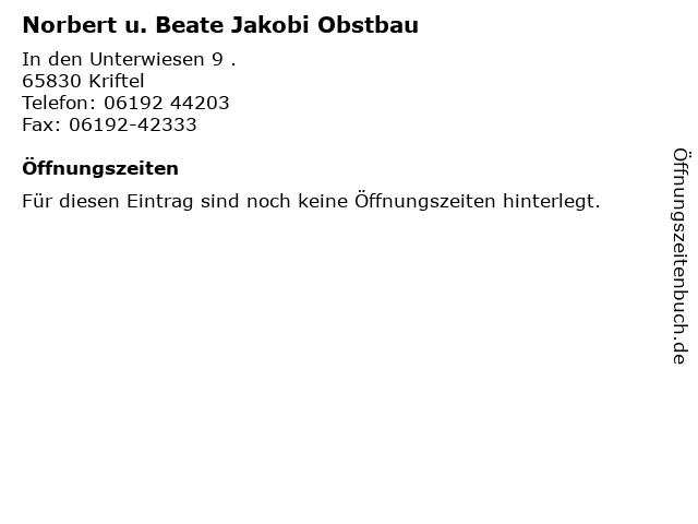 Norbert u. Beate Jakobi Obstbau in Kriftel: Adresse und Öffnungszeiten