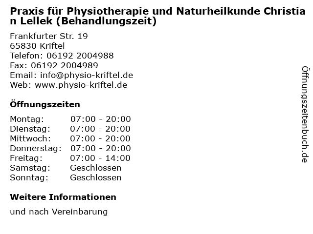 Praxis für Physiotherapie und Naturheilkunde Christian Lellek (Behandlungszeit) in Kriftel: Adresse und Öffnungszeiten