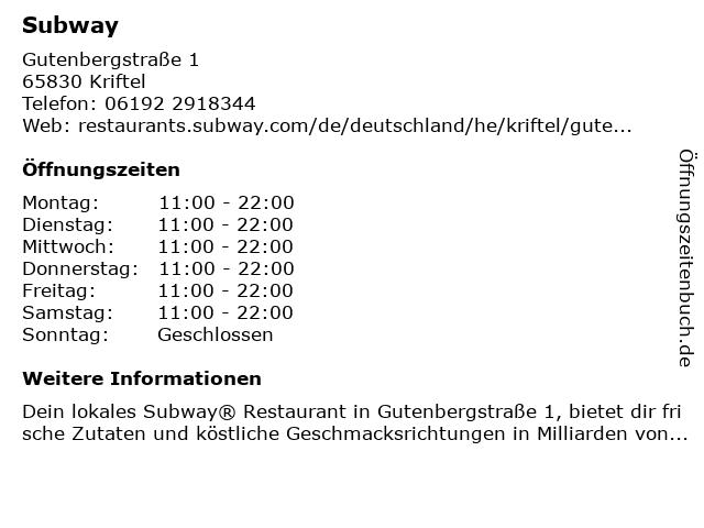 Subway in Kriftel: Adresse und Öffnungszeiten