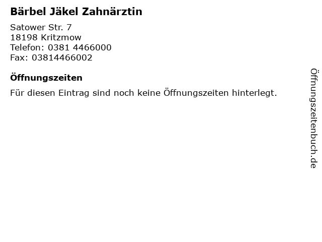 Bärbel Jäkel Zahnärztin in Kritzmow: Adresse und Öffnungszeiten