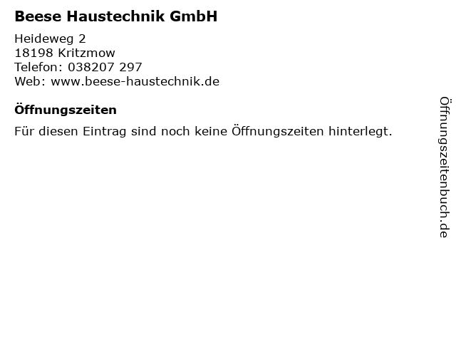 Beese Haustechnik GmbH in Kritzmow: Adresse und Öffnungszeiten