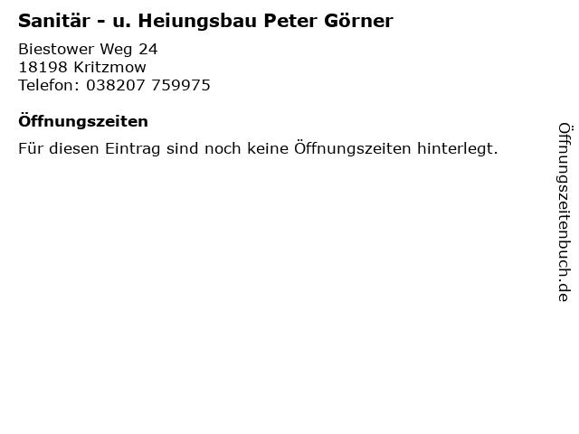 Sanitär - u. Heiungsbau Peter Görner in Kritzmow: Adresse und Öffnungszeiten