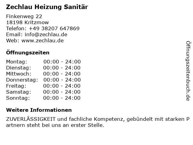 Zechlau Heizung Sanitär in Kritzmow: Adresse und Öffnungszeiten