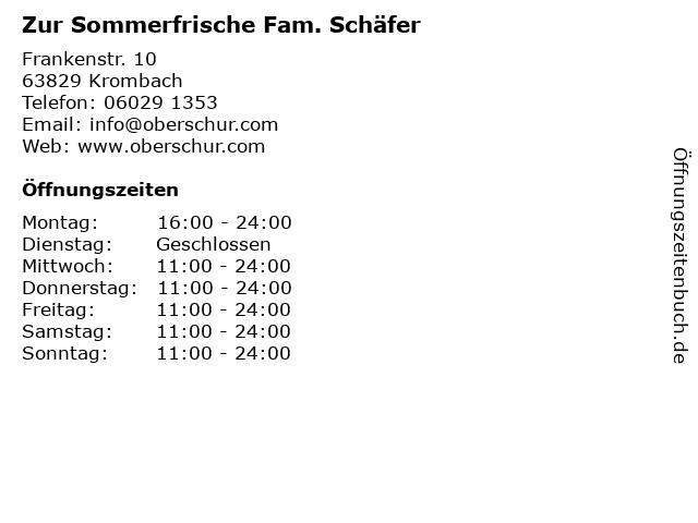 Zur Sommerfrische Fam. Schäfer in Krombach: Adresse und Öffnungszeiten