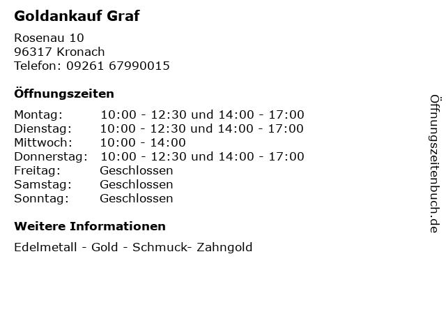 Goldankauf Graf in Kronach: Adresse und Öffnungszeiten