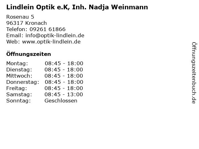 Lindlein Optik e.K, Inh. Nadja Weinmann in Kronach: Adresse und Öffnungszeiten