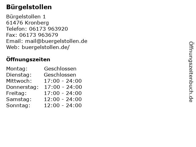 Bürgelstollen in Kronberg: Adresse und Öffnungszeiten