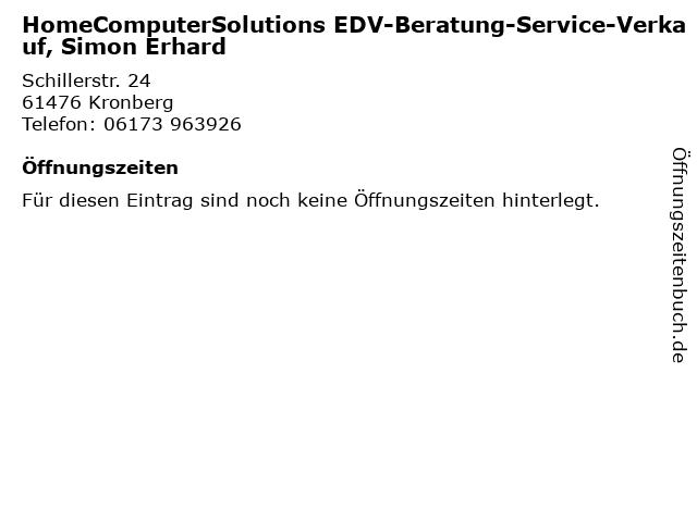 HomeComputerSolutions EDV-Beratung-Service-Verkauf, Simon Erhard in Kronberg: Adresse und Öffnungszeiten