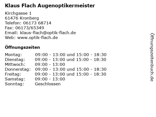 Klaus Flach Augenoptikermeister in Kronberg: Adresse und Öffnungszeiten