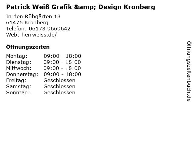 Patrick Weiß Grafik & Design Kronberg in Kronberg: Adresse und Öffnungszeiten