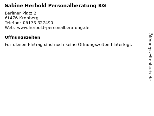 Sabine Herbold Personalberatung KG in Kronberg: Adresse und Öffnungszeiten