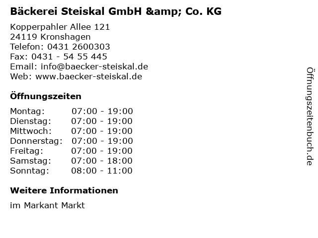 Bäckerei Steiskal GmbH & Co. KG in Kronshagen: Adresse und Öffnungszeiten