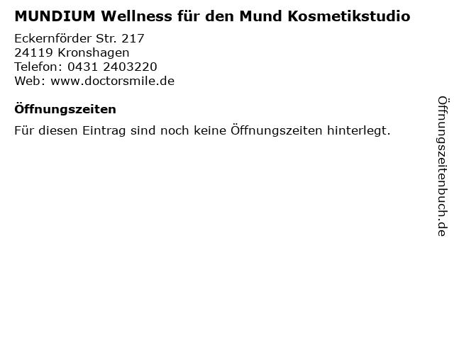 MUNDIUM Wellness für den Mund Kosmetikstudio in Kronshagen: Adresse und Öffnungszeiten